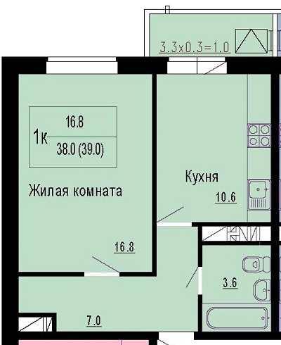 1 к, 39 кв.м